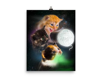 Space Cat Art Print, Three Kittens and Moon Funny Cat Poster, Kitten Art Print Gift for Crazy Cat Lady, Cute Cat Lover Gifts, Kawaii Cat Art