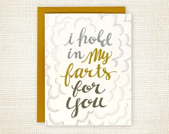 Funny Anniversary Card, Love Card, Roommate, Friendship Card - Farts