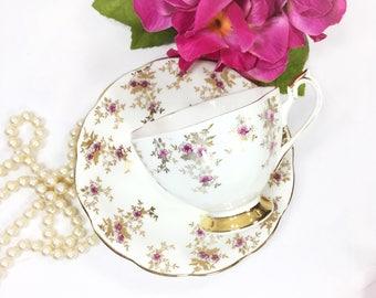 Queen Anne Bone China Tea Trio, English Tea Set, Fine Bone China English Tea Cup and Saucer for Tea Time, Tea Party  #B160