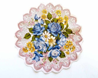 Round Linen Handkerchief Ring of Blue Roses  Faux Lace Scalloped 1940s Bridal Shower Wedding Flower Girl Hankie Yellow White Pink Flowers