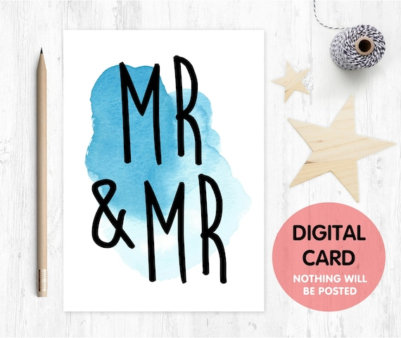 PRINTABLE mr and mr card gay wedding card printable gay engagement card LGBT printable wedding card gay anniversary printable card