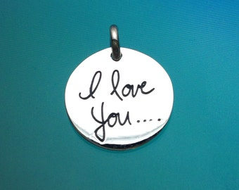 925 Solid Sterling Silver I LOVE YOU Pendant-Circle Plate-Small-Scrip Letter-Polished