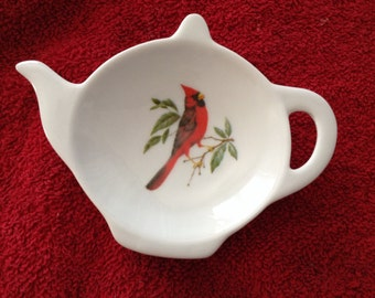 "Ceramic Tea Bag Holder  Red Cardinal 4.5"""