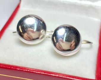 Vintage 1970's Gold Dangle Earrings l 14KT White Gold Earrings l Drop Earrings
