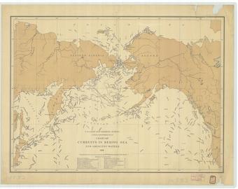 Bering Sea Map - Sea Currents - 1891