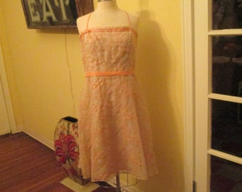 Vintage Large Size 12 Embroidered Dress With Tags Laundry Shelli Segal Peach