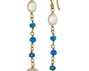 Turquoise Freshwate Pearl Linear Earrings