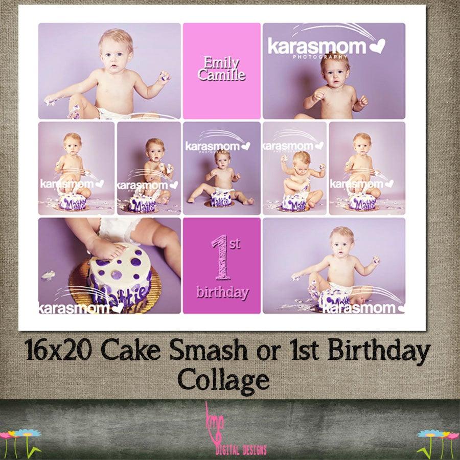Geburtstag Kuchen Smash 1. Vorlage Drehbuch Collage CS &