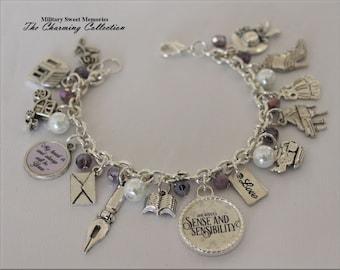 Jane Austen Lavender Crystal Beaded Jewerly Sense and Sensibility, Jane Austen Jewerly, Jane Austen Fan Gift, Jane Austen Book inspired