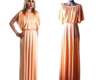 Vintage 1970s Grecian Syle Peach Blouson Maxi Dress with Split Sleeves
