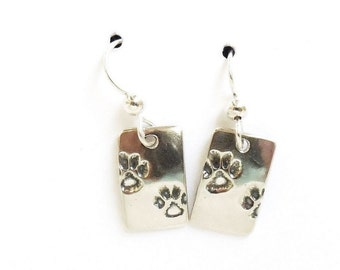 Sterling paw print earrings, pet lover gift, pawprint accessory