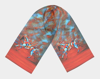 Running Horse Scarf, Horse Scarf,  Colorful Horse Scarf, Southwestern Scarf