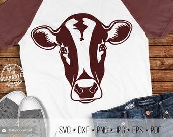 Cow Face Svg Heifer Head T-shirt Svg Cricut Silhouette Cut Files Farm Girl Boy Svg Dxf Eps Pdf Png Jpg Image Iron on Transfer Printable File