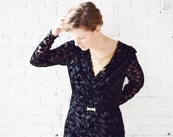 1920s Art Deco Devoré Dress | Black Burnout Silk Velvet Dress | Vintage | Size Medium
