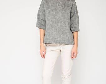 Boxy Top in Gray Linen / Gray Linen Top / Melange Gray Top / Loose Fit Top / Gray Linen Blouse / Loose fit Blouse in Linen / Top For Women
