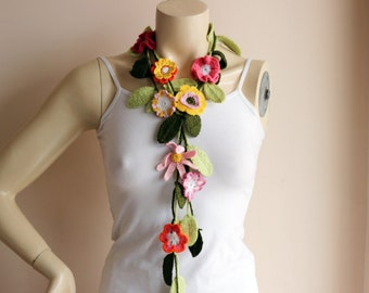 Spring Crochet Scarf-Flower Necklace Scarf-Lariat Scarf-Handmade Long Scarf