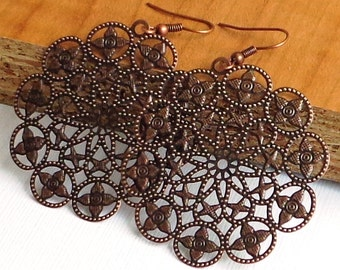 SALE  - Copper -  round  flower filigree , filigree stamping, faux patina,  long earrings