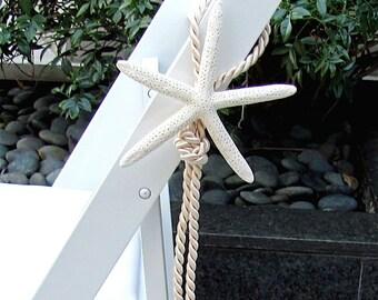 Beach Wedding Starfish Chair Decoration - aisle marker star fish coastal seashells