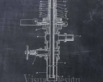 Oil or Gas Drilling Mechanism Patent Art Print - Oil Drill Patent Poster - Oil Drill Art - Gas Drill Art - Oil Well
