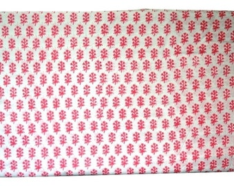 1 to 50 Yard Indian Block Printed Cotton Pink Booti Fabric