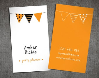 Premade business cards and calling cards by sthnew on etsy party planner business card contact card party colourmoves