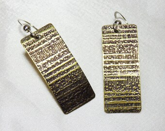 Etched Brass Rectangle Earrings