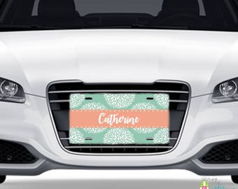 Monogrammed Car Tag, Personalized License Plate, Monogram Car Tag, Car Accessory, Front Car Tag, Car License Plate, Blossom Design