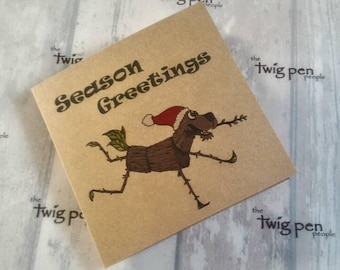 Barker Log Dog Greeting card. Unique recycled. christmas card.
