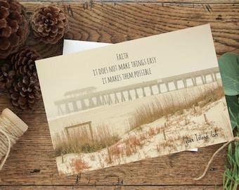 Faith photo greeting card, beach, pier, Tybee Island, GA