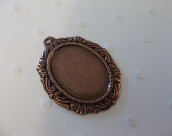 Vintage Inspired 18X13mm Antiqued Copper Swag Design Setting - Qty 2