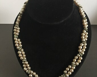 Vintage Faux Pearl & Paste Rhinestone Necklace Double Strand