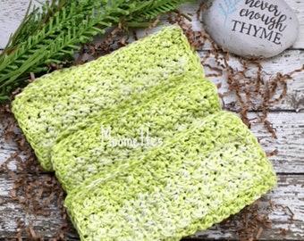 Handmade Kitchen Dish Cloths Farmhouse Lime Green Eco Friendly Wash Cloth Crochet Cotton Dishcloths Set of 3