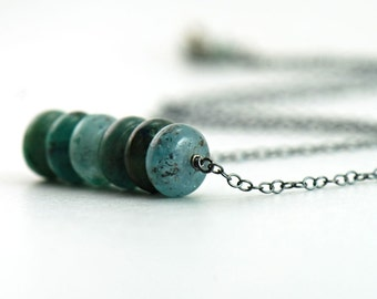 Teal Kyanite Necklace Sterling Silver, Green Stone Handmade Jewelry, aubepine