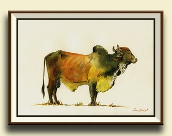 PRINT-Zebu boran cattle bull  Cow painting print, farm nursery  - Art Print by Juan Bosco