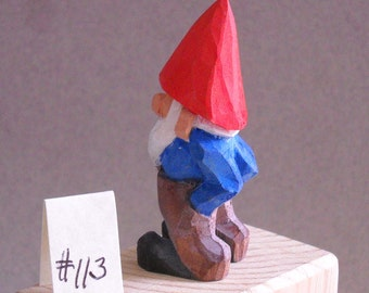 Very small wood carved Garden Gnome     #113