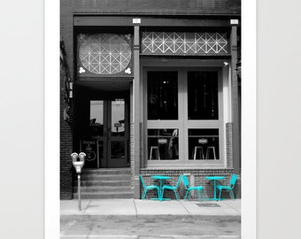 Cafe print, Overstock Sale, 50% off, Selective Color, Black and White, Blue Green, Coffeehouse, Windows, Doors, Table and Chairs, Urban