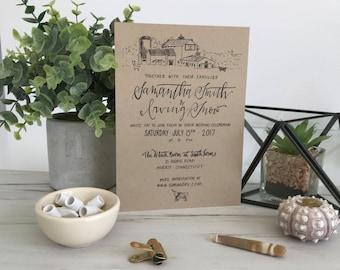 Custom Barn Drawing Wedding Invitations . Barn Illustration Wedding Invites . Rustic Barn Wedding Invitations