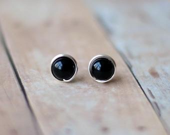 Black stud earrings - Post earrings - Everyday earrings - Simple earrings - Birthday Gift for women - Onyx earrings - Wire wrap earrings