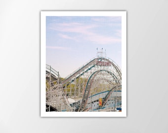 Rollercoaster Print, Rollercoaster Photo, Summer Wall Art, Summer Decor, Cyclone Rollercoaster, Coney Island Art Print, Rollercoaster Poster
