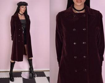 VTG Burgundy Velvet Trench Coat/ Medium/ Vintage/ Jacket/ Double Breasted