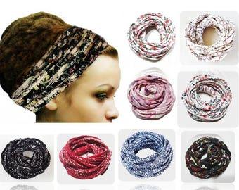 Dreadlock Headband Head Wrap Head Scarf Gypsy Headband Dreadband Boho Chic Hair Cover Turban Headband Workoout Floral Print headband