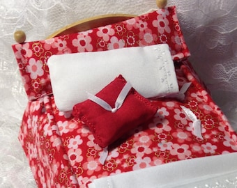 """Item #23  1:12 Scale Dollhouse Bedding """"Pink on Red Twin"""