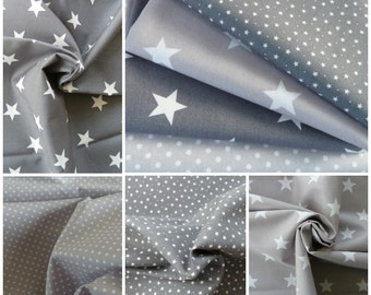 Grey & White Fabric Bundle - Stars and Spots  - 4 Fat Quarters - 100% Cotton Poplin - Crafts, Patchwork, Dressmaking, Light Soft Furnishing