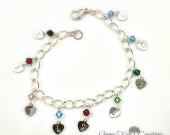 Personalized Bracelet For Mom/ Silver Plated  Hand Stamped Heart Initial Birthstone Charm Bracelet Custom Made to Order
