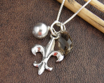 FLEUR DE LIS Necklace ,  Fleur De Lis Jewelry - Sterling Silver Fleur de Lis Charm with Swarovski Crystals