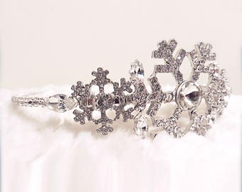 Snowflakes Diamante Side Headband