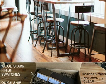 Counter Height Reclaimed Wood Bistro Table , Restaurant Table , Bar Height  Table . Choice Of Height , Size And Finish