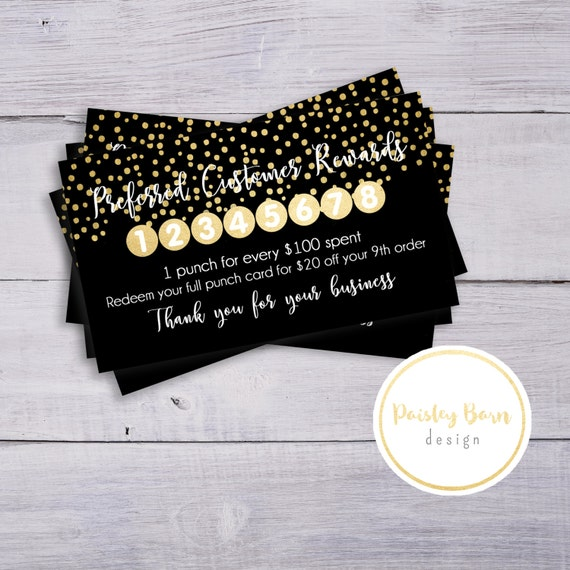 PC Loyalty Punch Cards | skincare business marketing | personalized