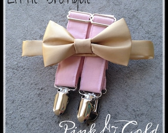 Pink and gold bow tie and suspender set for men, boys, toddlers, and babies. Sent 3-5 business days after you order