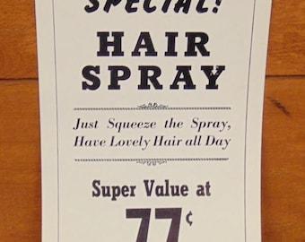 1963 Hair Spray Advertising Sign